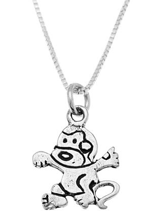 STERLING SILVER CRAZY MONKEY / CARTOON MONKEY CHARM WITH 16 inch BOX CHAIN NECKLACE