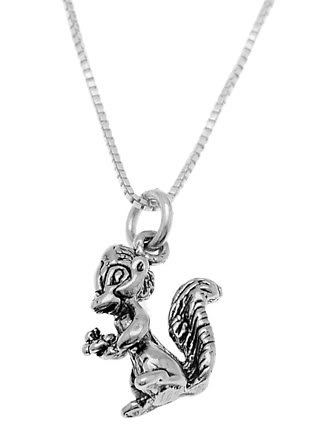 STERLING SILVER SQUIRREL/ SKUNK HOLDING FLOWER CHARM WITH 16 inch BOX CHAIN NECKLACE