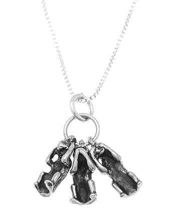 STERLING SILVER SEE, HEAR, SPEAK NO EVIL MONKEYS CHARM WITH 16 inch BOX CHAIN NECKLACE