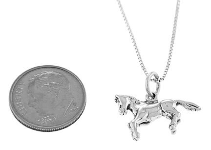 STERLING SILVER PRANCING PONY / BABY HORSE CHARM WITH BOX CHAIN