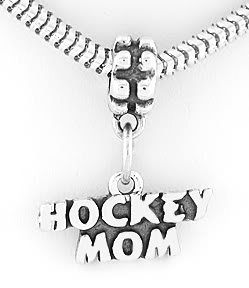 STERLING SILVER DANGLING HOCKEY MOM EUROPEAN BEAD
