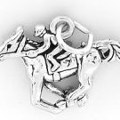 STERLING SILVER HORSE AND JOCKEY EQUESTRIAN CHARM