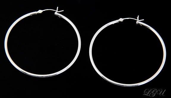 STERLING SILVER POLISHED PLAIN HOOP EARRINGS 45mm X 2mm