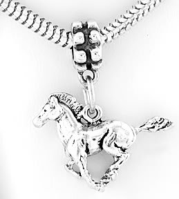 STERLING SILVER DANGLING HORSE STALLION MUSTANG EUROPEAN BEAD