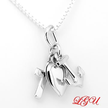 STERLING SILVER CHRISTIAN CROSS HEART ANCHOR FAITH HOPE LOVE WITH 16 INCH BOX CHAIN NECKLACE