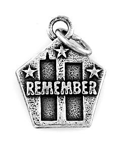 STERLING SILVER STILL REMEMBER 9-11-01 CHARM/PENDANT