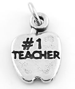 STERLING SILVER #1 TEACHER APPLE CHARM/PENDANT
