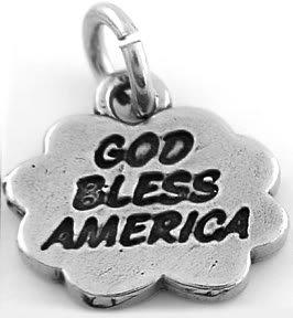 STERLING SILVER GOD BLESS AMERICA CHARM/PENDANT