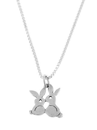 """STERLING SILVER TWO KISSING BUNNIES CHARM WITH 16"""" BOX CHAIN"""