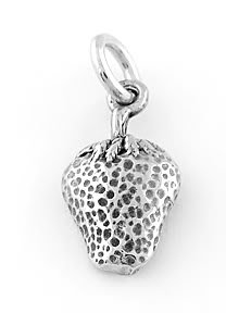 STERLING SILVER STRAWBERRY (ONE-SIDED) CHARM/PENDANT