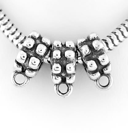 3 STERLING SILVER DANGLE BEAD HOLDER TO FIT EUROPEAN BEAD CHARMS