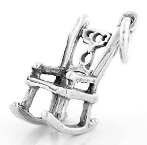 STERLING SILVER 3D ROCKING CHAIR CHARM/PENDANT
