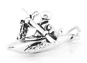 STERLING SILVER KAYAK 3D KAYAKING CHARM/PENDANT