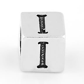 STERLING SILVER BLOCK LETTER INITIAL I CUBE CHARM
