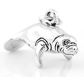 STERLING SILVER MANATEE 3D CHARM/PENDANT
