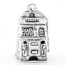 SILVER LAS VEGAS CASINO PLAY LARGE SLOT MACHINE CHARM