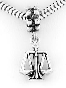 STERLING SILVER SCALES OF JUSTICE /WEIGHT EUROPEAN BEAD