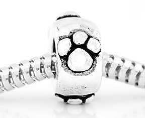 STERLING SILVER PAW PRINTS EUROPEAN SPACER BEAD