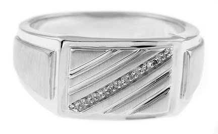 STERLING SILVER POLISHED MEN'S DIAMOND WEDDING / FASHION RING
