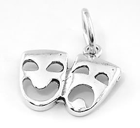 STERLING SILVER MASK OF COMEDY TRAGEDY CHARM/PENDANT