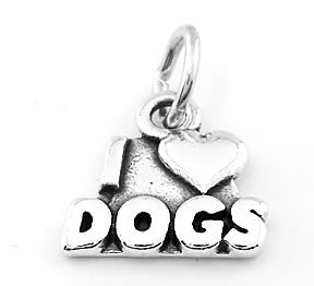 STERLING SILVER I LOVE DOGS CHARM/PENDANT