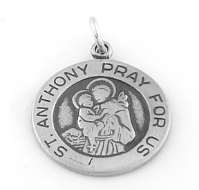STERLING SILVER SAINT ANTHONY PRAY FOR US CHARM/PENDANT