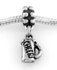 STERLING SILVER DANGLING CHEERS BEER MUG EUROPEAN BEAD