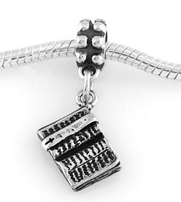STERLING SILVER DANGLING OPEN BIBLE EUROPEAN BEAD