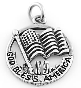 STERLING SILVER GOD BLESS AMERICA CHARM/PENDANT