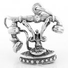 SILVER 3D FRENCH TELEPHONE CHARM/PENDANT