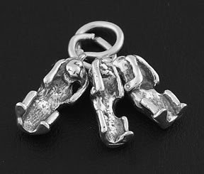 STERLING SILVER 3 MONKEYS-NO EVIL CHARM/PENDANT