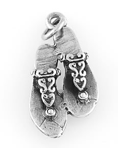 STERLING SILVER DECORATED FLAT FLIP FLOPS CHARM/PENDANT