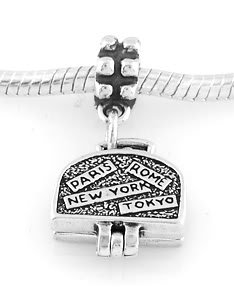 STERLING SILVER DANGLING TRAVEL SUITCASE EUROPEAN BEAD