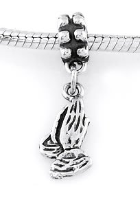 STERLING SILVER DANGLE PRAYING HANDS EUROPEAN BEAD