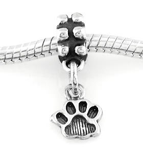 STERLING SILVER DANGLE SMALL PAW PRINT EUROPEAN BEAD