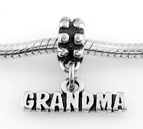 STERLING SILVER DANGLE GRANDMA EUROPEAN BEAD