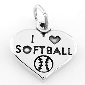 STERLING SILVER I LOVE SOFTBALL HEART CHARM/PENDANT