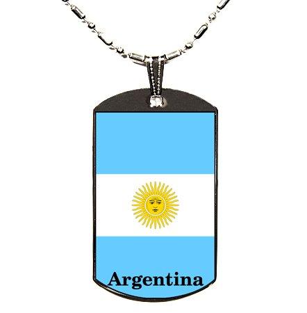 Argentina Flag Polymer Glazed Dog Tag