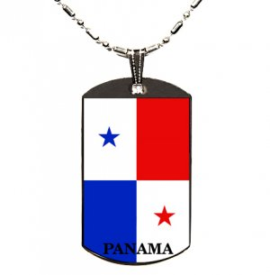 Panama Flag Polymer Glazed Dog Tag