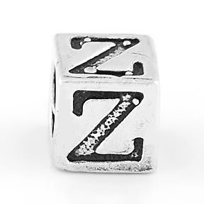 STERLING SILVER BLOCK LETTER INITIAL Z CUBE CHARM