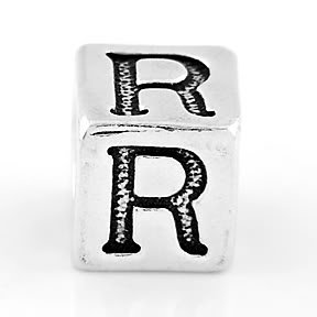 STERLING SILVER BLOCK LETTER INITIAL R CUBE CHARM
