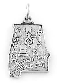 STERLING SILVER STATE OF ALABAMA CHARM/PENDANT