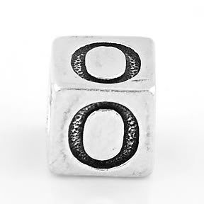 STERLING SILVER BLOCK LETTER INITIAL O CUBE CHARM