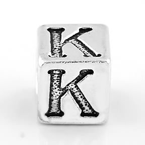 STERLING SILVER BLOCK LETTER INITIAL K CUBE CHARM