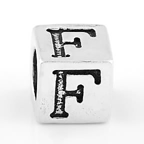 STERLING SILVER BLOCK LETTER INITIAL F CUBE CHARM