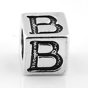 STERLING SILVER BLOCK LETTER INITIAL B CUBE CHARM