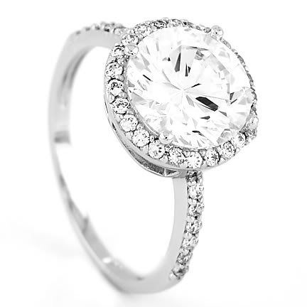 STERLING SILVER ROUND CUT CZ ENGAGEMENT RING SZ 9