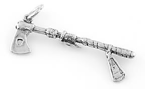 STERLING SILVER BATTLE AXE CHARM/PENDANT