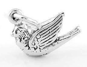 STERLING SILVER DOVE BIRD 3D CHARM/PENDANT