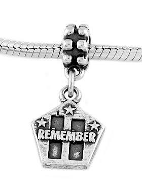 STERLING SILVER DANGLE REMEMBER  9-11-01 EUROPEAN BEAD